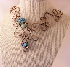 wire necklace copper wire necklace with green and by DebraNicholls