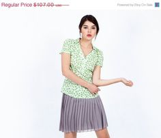 ON SALE Green blouse - short sleeve button down shirt - v neck blouse - Graphic green heart shaped leaves pattern - womens blouses