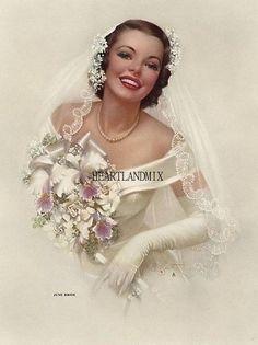 Pin-up: Zoe Mozert, A June Bride, Brown & Bigelow, Wedding Bride, Wedding Gowns, Dream Wedding, Wedding Day, Wedding People, Wedding Bells, Bridal Gowns, Vintage Wedding Photos, Vintage Bridal