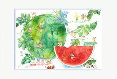 Watermelon Art Print by AyaKobayashi on Etsy