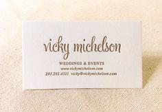 Letterpress Wedding Planner Business Cards