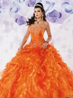 Colorful Quince Dresses - Orange Dress With Sweetheart Neckline