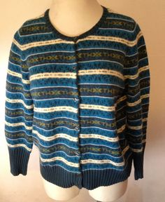 TOMMY HILFIGER WOMAN Sweater Cardigan Fair Isle Nordic Blue Green 1X Button Up #TommyHilfiger #Crewneck #Casual #sweater #cardigan #fairisle #Nordic #1X #XL