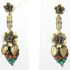 Art Deco Vintage Jewelry - Chrysoprase, Carnelian & Onyx Grape Art Deco Earrings
