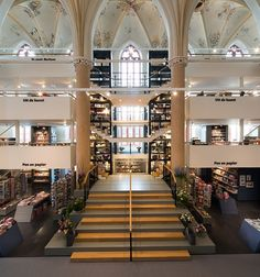 Waanders In de Broeren Book Store by BK Architecten. Adaptive reuse of a church to a book store.