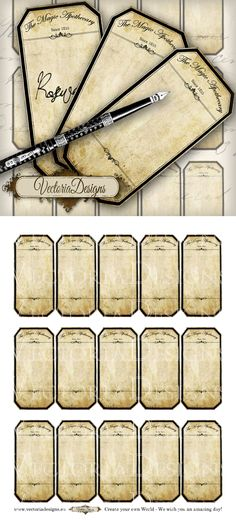 Blank Apothecary Labels - add your own wording. To add your own text to the blank labels: Four possibilities: You add your own text in handwriting Printable Blank Apothecary Labels Vintage Labels, Vintage Ephemera, Retro Vintage, Printable Labels, Printables, Printable Tickets, Herb Labels, Spice Labels, Potion Labels