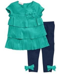 NEW FIRST IMPRESSIONS BABY GIRLS 2-PIECE TUNIC SET EMERALD GREEN SIZE 0-3 MONTHS #FIRSTIMPRESSIONS #DressyHoliday