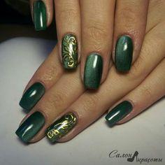 133 elegant autumn nail designs have to try blackish green floral stiletto nails inspo 140 Green Nail Art, Green Nails, Green Nail Designs, Nail Art Designs, Uñas Fashion, Nagellack Design, Pretty Nail Art, Autumn Nails, Fabulous Nails