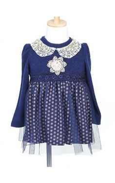 A-line Long Sleeve Mini length Tulle & Wool Flower Girl Dress With Pearls & Lace (More Colors)