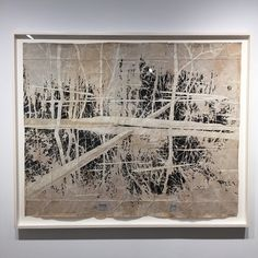 """Maysey Craddock""""between two shores"""" 2015 gouache and thread on found paper.  49 x 59 inches #currentexhibition #mayseycraddock #workonpaper #Painting #contemporaryart #contemporaryamericanart #searspeytonny #chelsea #landscape #landscapepainting by searspeytongallery"""