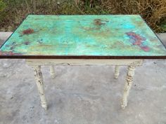 An old farm table top transformed w/ Modern Masters Metal Effects by Peacock Artistic Finishes of Brenham, TX Visit,Like and Shop our Facebook page https://www.facebook.com/RusticFarmhouseDecor