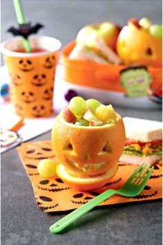 Are you in search for yummy and healthy Halloween snack? Look no more. Your little ones will be very amused when you serve them this scarily cute mini Halloween pumpkins. They will eat those healthy chunks of vitamins like they are sugary candy :)