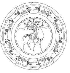 Mandalas Para Pintar: Animal bordeado de paisaje