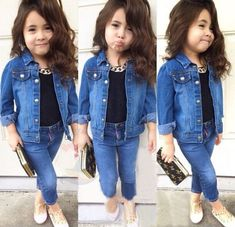 Best value Infant Denim Jackets – Great deals on Infant Denim Jackets from global Infant Denim Jackets sellers Girls Fall Outfits, Outfits Niños, Little Girl Outfits, Cute Little Girls, Little Kid Fashion, Cute Kids Fashion, Baby Girl Fashion, Toddler Fashion, African Dresses For Kids