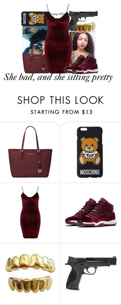 """""""Made this on the computer for the first time"""" by young-tiller ❤ liked on Polyvore featuring Michael Kors, Moschino, Glamorous and Smith & Wesson"""