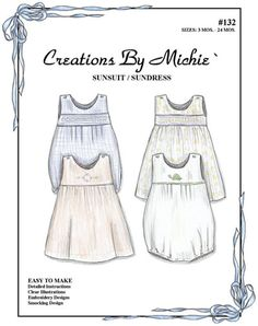 #132, Creations by Michie, Sunsuit and Sundress, Size 3mo-24mo