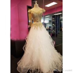 JaneVini Two Pieces Long Prom Dresses 2018 Sexy White and Gold Evening Dress Off Shoulder Lace Sequins Puffy Tulle Teens Formal Party Gowns