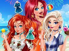 Princesses Summer Parties: As princesas têm uma agitada agenda de férias de verão à frente. Elas contam com sua ajuda para criar looks fabulosos para todos os eventos.  Escolha penteado, roupas e acessórios de acordo com o evento.