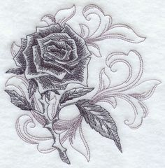 Let this beautiful baroque rose bloom onto jackets, jeans, and sweatshirts for fabulous fashion!