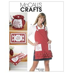 McCall's Crafts M6300 Apron Tea Cozy Placemat and by scarlettess, $5.95