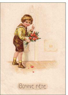 Carte Carte ancienne bonne fête pour envoyer par La Poste, sur Merci-Facteur ! #carte #fêtedesgrandsmères