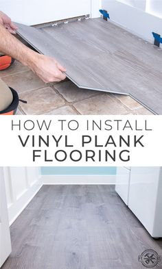 How to Install Vinyl Plank Flooring quick and easy! I used the LifeProof vinyl plank flooring from Home Depot and it turned out amazing. See exactly h. Home Depot Flooring, Diy Flooring, Diy Kitchen Flooring, Cheap Flooring Ideas, Vinyl Flooring Installation, Flooring On Walls, Grey Kitchen Floor, Inexpensive Flooring, Plywood Floors
