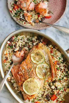 Pan-Seared Salmon with Israeli Couscous + A Giveaway — A Thought For Food