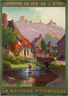 """Affiche ancienne promouvant la visite de """"La Mayenne pittoriesque"""" et son accessibilité via les """"Chemins de fer de l'État"""" (la SNCF dirait-on aujourd'hui)."""