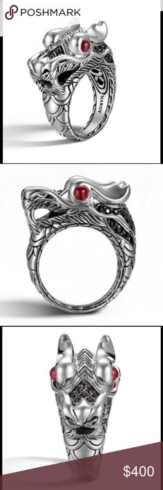 John Hardy Ring John Hardy Legends women's Ring, sterling silver with ruby eyes and black sapphires. Size 7 John Hardy Jewelry Rings
