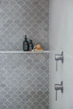 32 Simple and Practical Hexagon Tile for Your Bathroom Mermaid fish scale tile in shower! Laundry In Bathroom, Bathroom Renos, Bathroom Renovations, Bathroom Ideas, Bathroom Towels, Bath Ideas, Hexagon Tile Bathroom, Hexagon Tiles, Shower Tiles