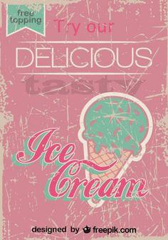 Retro Ice Cream Poster Design Free Topping