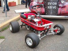 radio flyer go kart wagons Cool Go Karts, Radio Flyer Wagons, Custom Radio Flyer Wagon, Huge Truck, Homemade Go Kart, Kids Atv, Toy Wagon, Diy Go Kart, Little Red Wagon