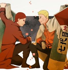 Gaara told Naruto that when he became Hokage they'd join forces. Gaara the kazekage of the sand and Naruto the hokage of the leaf. Them joining forces is the best thing ever! Naruto Gaara, Sasuke Sakura, Anime Naruto, Gara Naruto, Naruto Shippuden Anime, Shikamaru, Manga Anime, Naruto Family, Boruto Naruto Next Generations