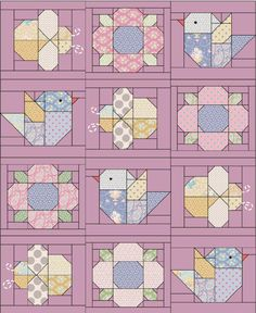 Patchwork Quilt Patterns, Scrappy Quilts, Quilt Block Patterns, Mini Quilts, Owl Quilts, Easy Baby Quilt Patterns, Bird Quilt Blocks, Baby Patchwork Quilt, Baby Girl Quilts