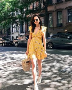 Emerson Lace Up // @lcscloest Johnston Murphy, Basket Bag, Emerson, Yellow Dress, Your Photos, Personal Style, Lace Up, Summer Dresses, My Style
