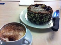 Birthday coffee and cake in The Hub.