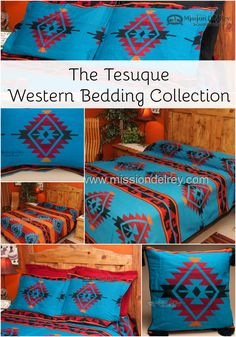 Watch how your western decor comes to life with the Tesuque western bedding collection. Available in king, queen and twin size, our western bedspreads are fully reversible, offering you the chance to change the look of your room whenever you want. Our western and southwestern bedspreads are the number one choice for western bedroom decor, and enhance cabin, lodge style, rustic, southwest and western decor. See more at…