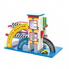 Buy Le Toy Van: Vintage Garage at Mighty Ape NZ. Le Toy Van: Vintage Garage A classic painted wooden garage. A robust three storey garage with a working lift & spiral ramps. Wooden Toy Garage, Wooden Car, Wooden Toys, Wooden Playset, Activity Cube, Buy Toys, Electronic Gifts, Toys Online, Natural Baby