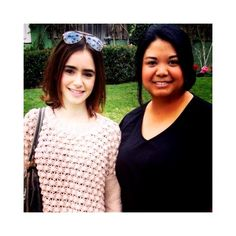 Lily Collins with a fan