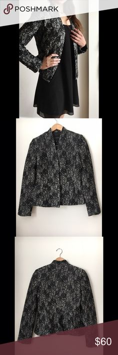 NWT Banana Republic Blazer - NWT Banana Republic Blazer  - Black and white lace pattern through out. Single button closet and three buttons per sleeve. Peplum fit  - Size 4   - New With Tags and extra buttons Banana Republic Jackets & Coats Blazers