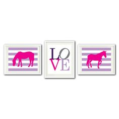 Our custom LOVE horse themed print set will look great in your bedroom…