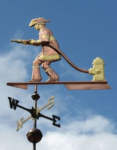 Fireman Weathervane by West Coast Weather Vanes. This custom made, handcrafted weathervane can be made entirely in copper, however, they opted for the optional gold leaf to add a nice contrast to this Fireman copper weathervane. West Coast Weather, Storefront Signs, Little Barn, Lightning Rod, Weather Vanes, Water Tower, Shop Signs, Metal Working, Custom Design
