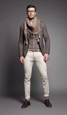 great monochrome outfit with taupe shade for men