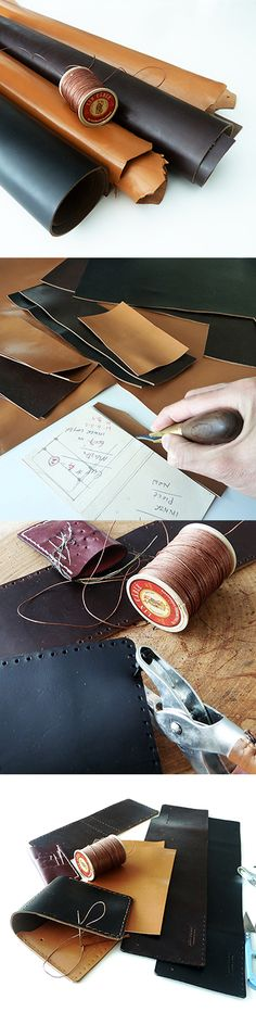 Horween leather wallet hand sewn with fil au Chinois lin cable from France.