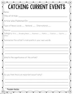 Current Events Analysis Worksheet by MICHELLE BREWER   TpT  Current Events Worksheet Pdf
