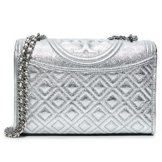 Tory Burch Fleming Small Shoulder Bag (570 AUD) ❤ liked on Polyvore featuring bags, handbags, shoulder bags, silver metallic, long shoulder bags, tory burch, genuine leather shoulder bag, shoulder bag purse and real leather shoulder bags
