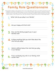 Printable: Family Roles - Mom it ForwardMom it Forward Counseling Worksheets, Therapy Worksheets, Counseling Activities, Family Psychology, School Psychology, Therapy Tools, Therapy Ideas, Play Therapy, Speech Therapy