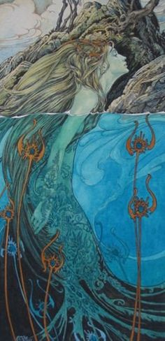 'Lorelei' - stunning painting by Ed Org. Fantasy Mermaids, Mermaids And Mermen, Alphonse Mucha, Fantasy Kunst, Fantasy Art, Water Nymphs, Mermaid Tale, Vintage Mermaid, Merfolk