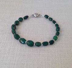 Emerald & Sterling Silver Handmade Bracelet Emerald by JNayJewelry