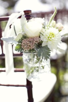 Mason jars and flowers: http://www.stylemepretty.com/california-weddings/2014/05/14/traditional-pebble-beach-estate-wedding/ | Photography: Jo ann Manolis - http://www.joannmanolisphotography.com/